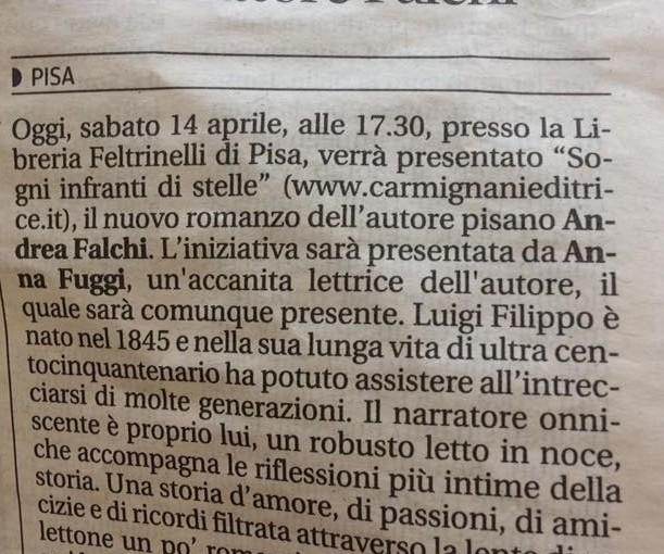 Andrea Falchi alla Libreria Feltrinelli con Sogni infranti di stelle